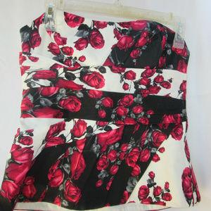 White House Black Market Bustier Floral Rose Lined